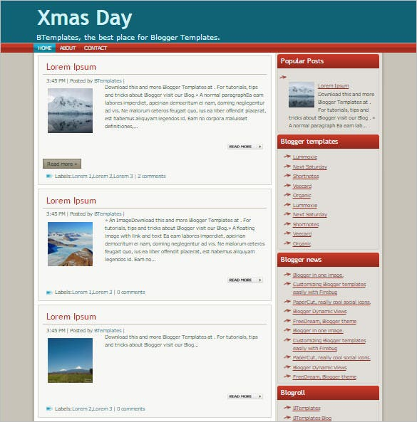 blogger template xmas day download