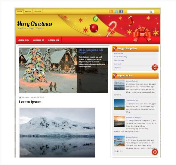 blogger template merry christmas template