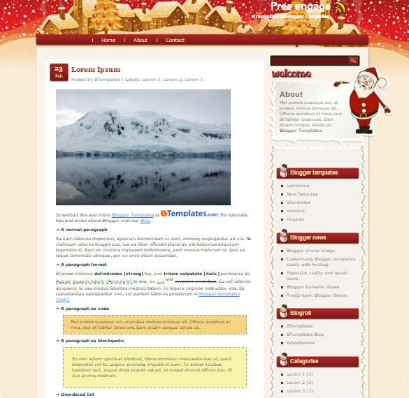 blogger template free engage christmas