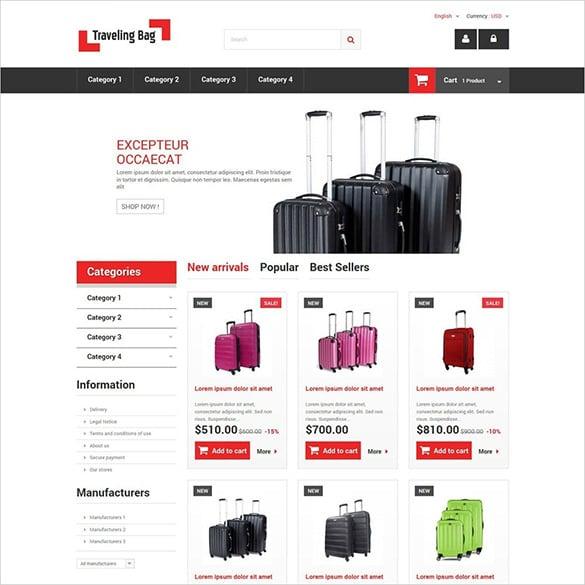 travelling bag prestashop theme