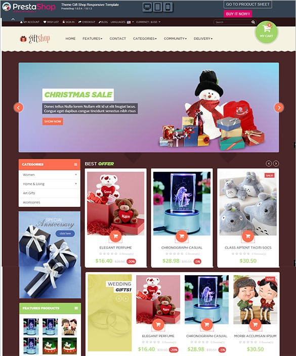 gift shop responsive template e commerce christmas