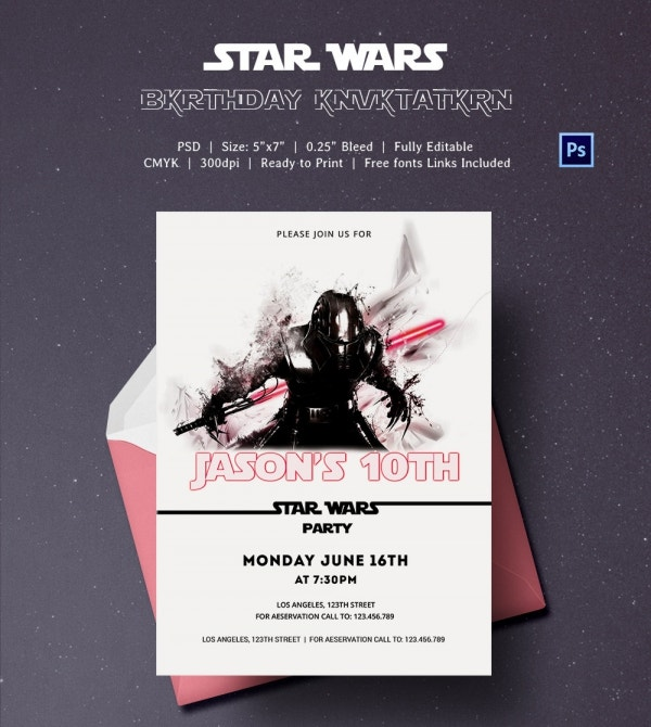 Battle Style Star Wars Birthday Party Invitation