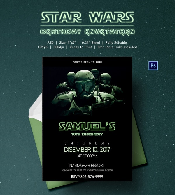 Digital Invitation for Star Wars Birthday Theme