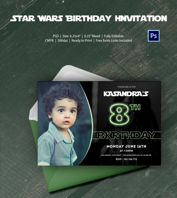Elegant Star Wars Birthday Invitation with Custom Photo