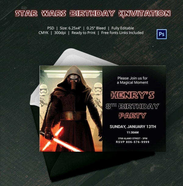 Lego Themed Star Wars Birthday Invitation Digital Download