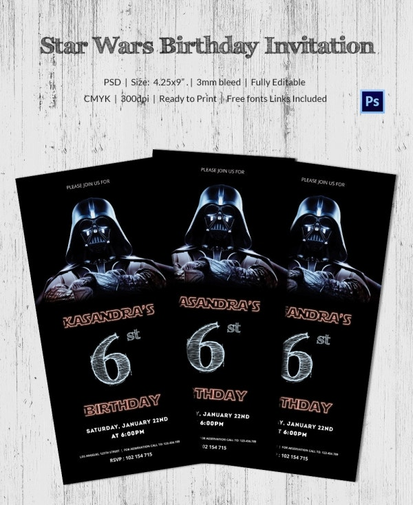 Robot Star Wars Birthday Invitation Card