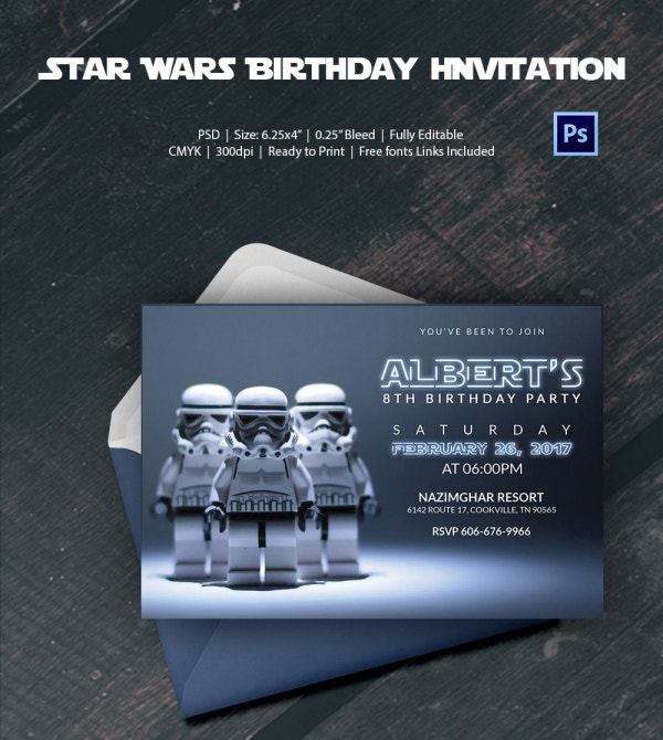 Premium Birthday Invitation Card of Robot Star Wars
