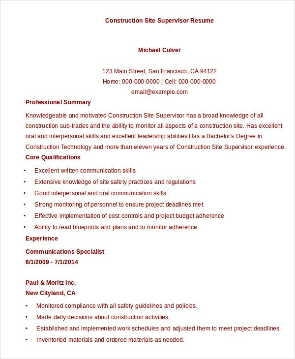 construction-site-supervisor-resume-template-download