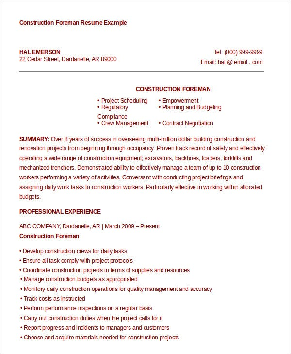 Construction Foreman Resume Example  Construction Foreman Resume