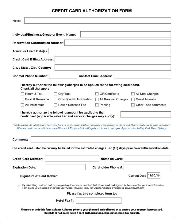 hyatt credit card authorization form Credit Card Authorization Form Template - 10  Free Sample, Example ...