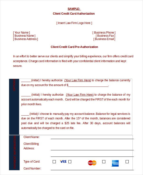 Credit Card Authorization Form Template - 10+ Free Sample, Example