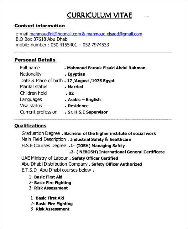 construction-supervisor-resume-template