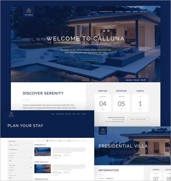 hotel resort wordpress bootstrap theme