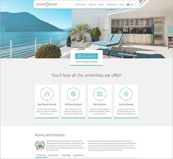 accommodation landing page bootstrap theme