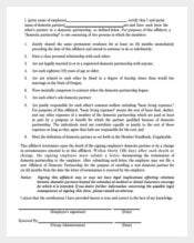 Affidavit of Domestic Partnership Letter Template