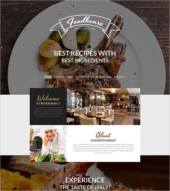 european restaurant psd theme
