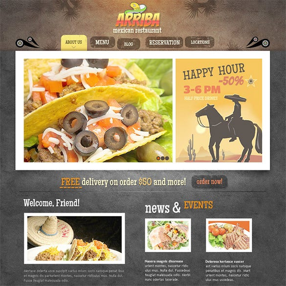 mexican restaurant psd template
