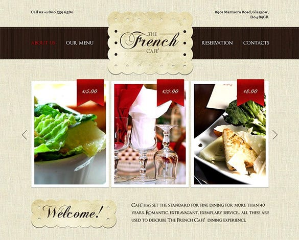 french restaurant psd theme