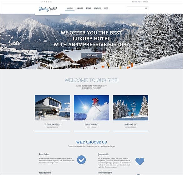 rocky hotel wordpress php theme