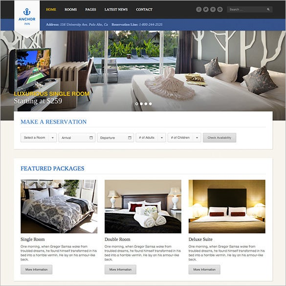 hotel resort php template