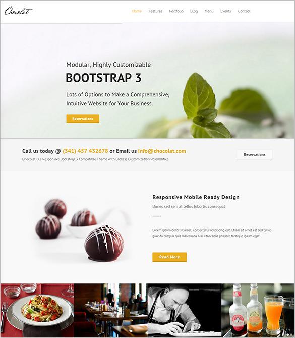 chocolat bootstrap psd restaurant template