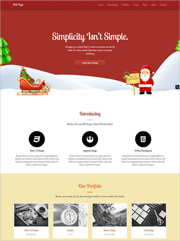 dw one page christmas wordpress theme download