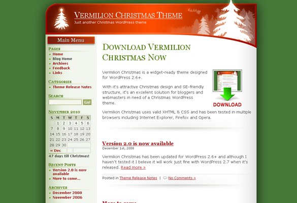 vermilion christmas website theme free download