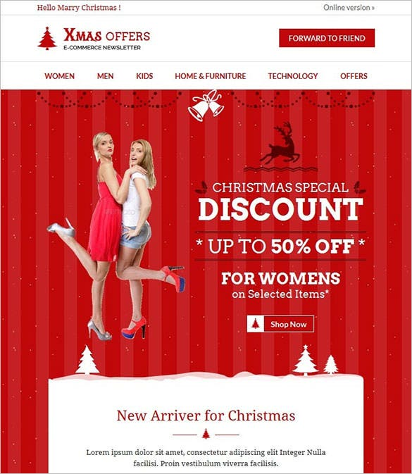 christmas e commerce responsive website template