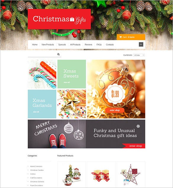 e commerce christmas gifts zencart website template