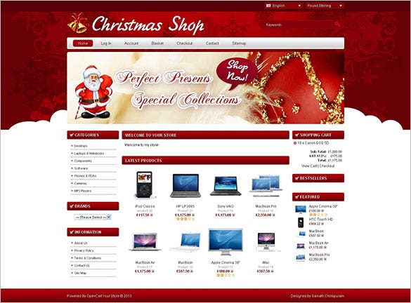 e commerece christmas shop opencart website theme