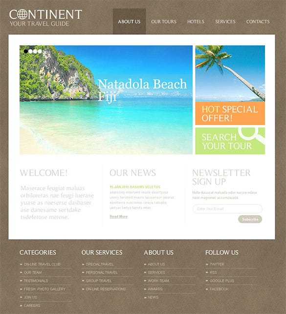 your travel guide psd theme