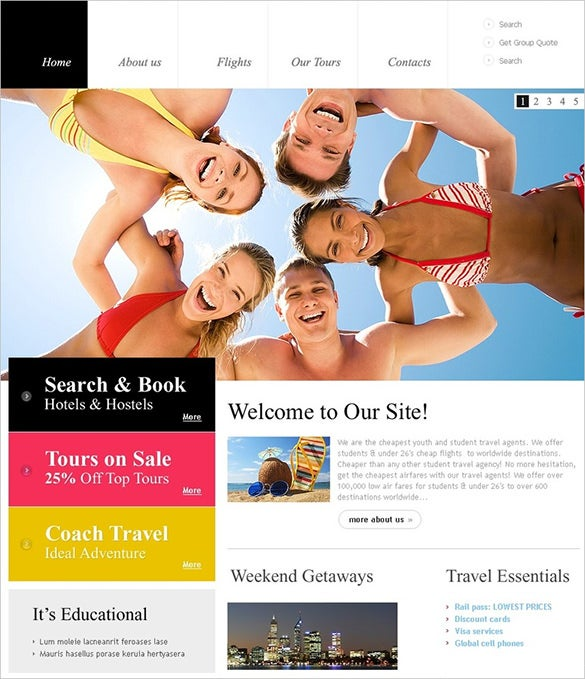 superb travel psd template