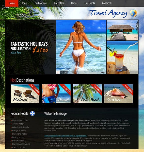 travel agency psd theme