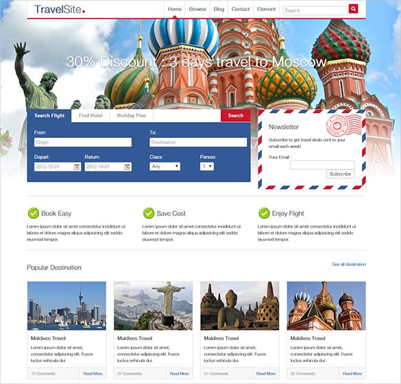 travel site html psd theme