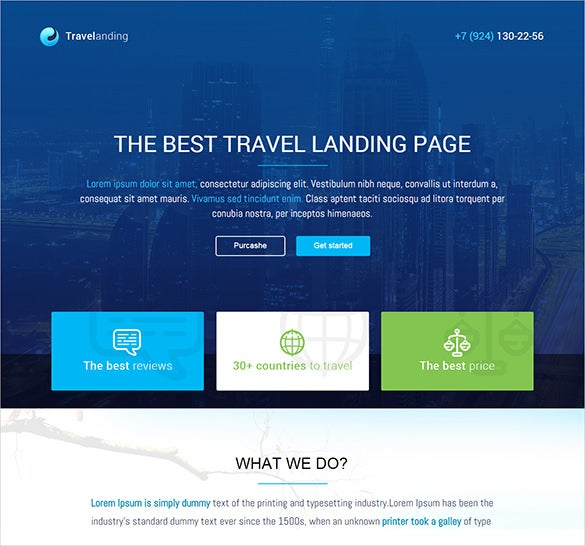 travel page psd template