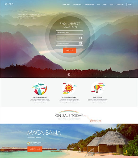 travel hotel psd theme