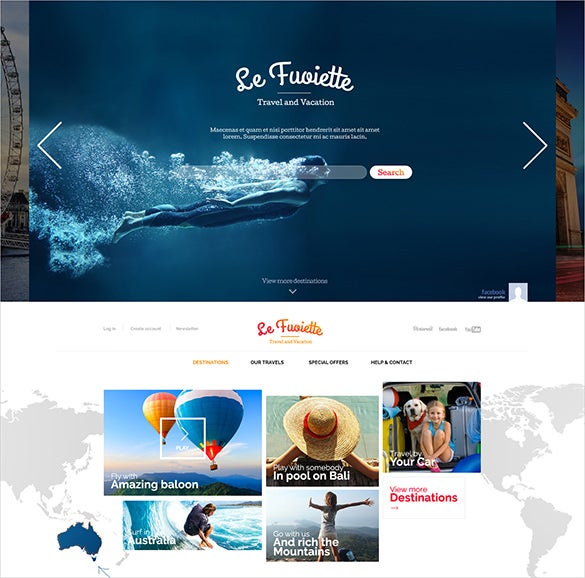 responsive travel psd theme