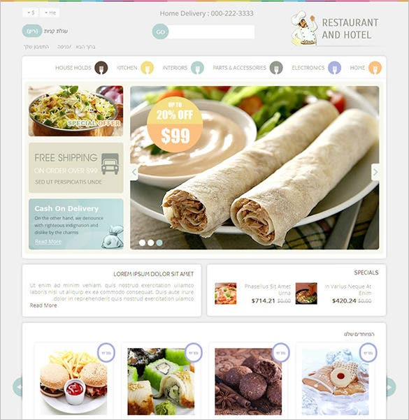 premium restaurant hotel prestashop theme