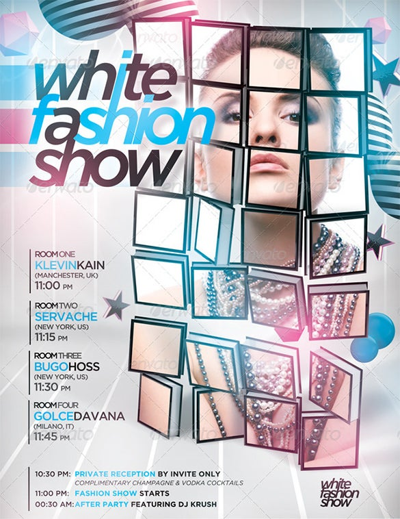 white fashion show 3d mockup flyer poster