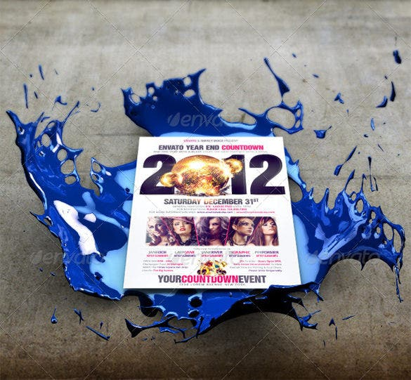 3d splash poster flyer mockup template