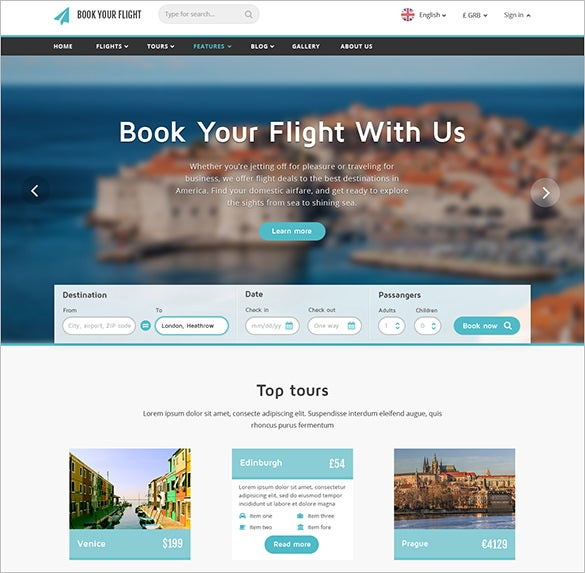 flight booking travel psd theme