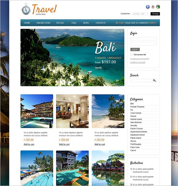 around the world hotels virtuemart template