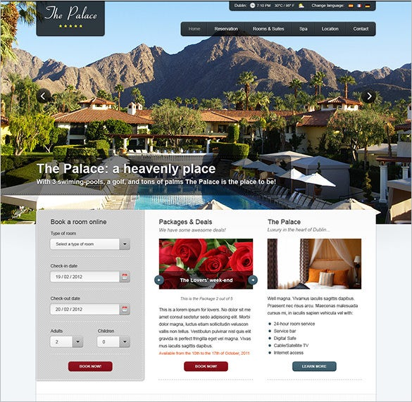the palace hotel psd theme