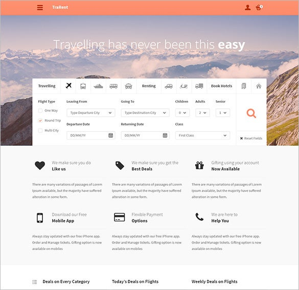travellingrenting hotel booking psd theme
