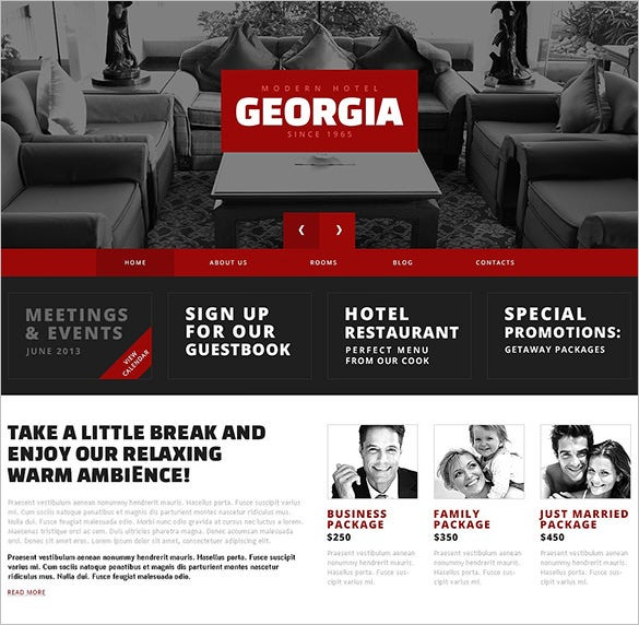 red contrast hotels wordpress theme