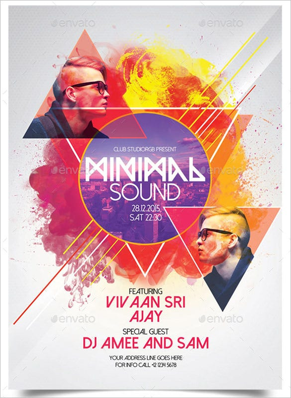 minimal sound a3 poster template