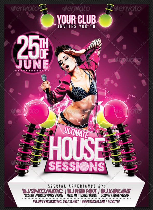 ultimate house sessions a3 poster and a6 flyer