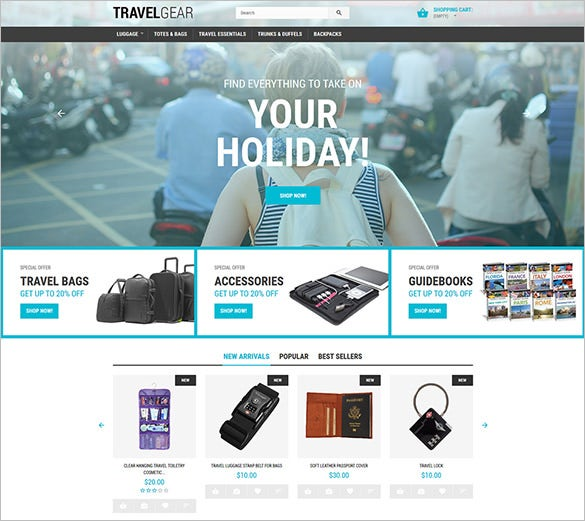 travel gear prestashop blog heme