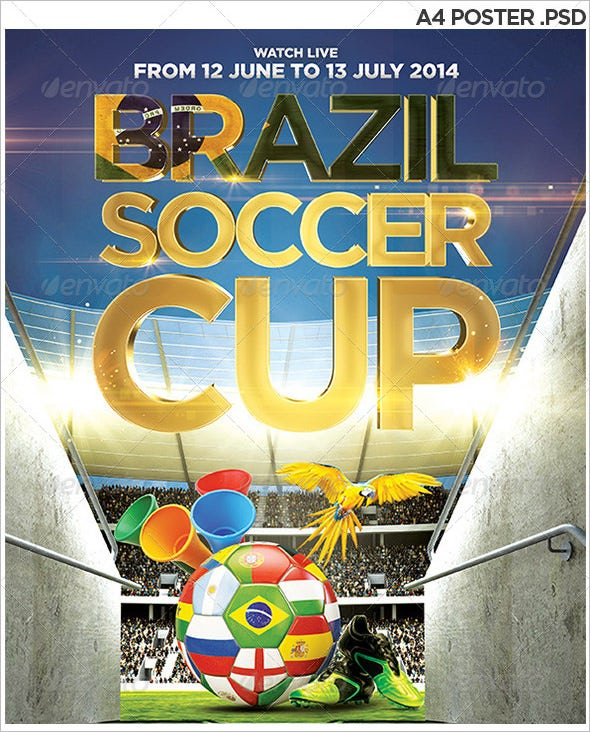 brasil soccer cup a4 poster