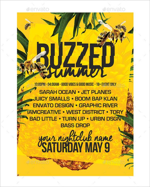 buzzed summer a4 poster